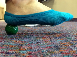 Use of a golf ball to roll back and forth on your plantar fascia. Be sure you are using adequate pressure as you roll the ball back and forth.